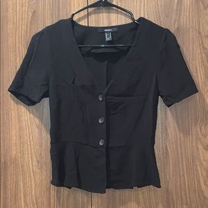Forever 21 Black Button Front Ruffle Top Trendy